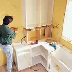 Here's a home improvement job that'll give you instant home equity along with great visual impact. Installing your own kitchen cabinets isn&r Frameless Kitchen Cabinets, Installing Kitchen Cabinets, Refacing Kitchen Cabinets, Built In Cabinets, Diy Cabinets, Cabinet Refacing, Cupboards, Barn Kitchen, Kitchen Redo