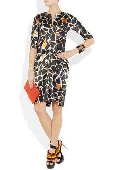 ZERO+MARIACORNEJO  Toia printed stretch silk-satin dress