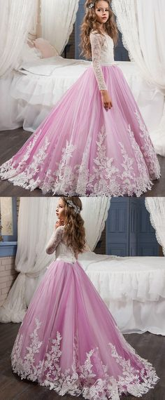 Gorgeous Tulle & Lace Scoop Neckline A-Line Flower Girl Dresses With Beaded Lace Appliques