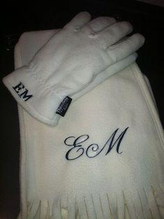 Monogrammed Fleece Scarf and Glove Set  $22 at The Monogram Queen!    www.monogramqueen.com