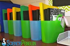 Interactive Notebook Baskets-- The Supply Manager for each group gets out the bin of notebooks and folders right away. Every table group in every class has a bin. That's 5 tables and 3 classes, so 15 total bins.