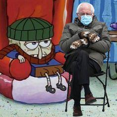 """Bernie's Mittens visit """"Sponge Bob Squarepants"""" Vintage Images, Vintage Designs, Funny Laugh, Hilarious, Sponge Bob, Bernie Sanders, Mittens, Memes, Anime"""