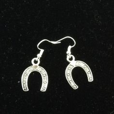 Handmade silver horseshoe earrings Handmade silver earrings crystal iris design Jewelry Earrings