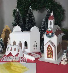 Putz House DIY Paper Craft Pattern Village Christmas Glitter