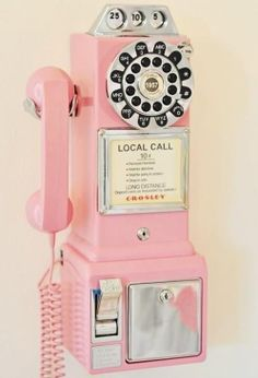 Old School Pink Telephone. @Courtney Baker Creekmur There is no source link but we need this in our kitchen! In an aqua blue! :)