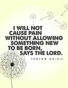 "Isaiah 66:9 ""I will not cause pain without allowing something new to be born, says the Lord."""