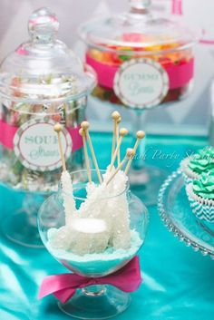 Sweets at a Sweet 16 party!   See more party ideas at http://CatchMyParty.com!  #partyideas #sweet16