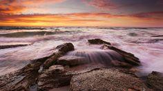 Скачать обои Западная Австралия, Burns Beach, Индийский океан, волны, вечер, облака, небо, камни, закат, раздел пейзажи в разрешении 1920x1080