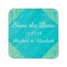 Rustic Chic: Blue Faux Wood and Green Lace Damask Square Sticker #weddings #quotelife