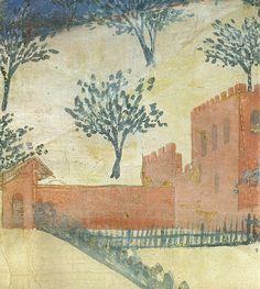 Ambrogio Lorenzetti - Fattorie, ville e castelli del contado (Effetti del Buono Governo nel contado), dettaglio - affresco - 1338-1339 - Siena - Palazzo Pubblico, Sala dei Nove o Sala della Pace