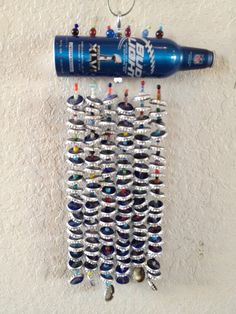 Window Art Bud Light Beer Caps Super Bowl XLVI Champs New York Giants Recycled