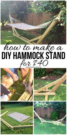 Make+your+own+DIY+Hammock+Stand+for+40+bucks!+This+is+the+perfect+weekend+project!  Supplies:  Eight+8′+2×4+boards  Four+1/2″+diameter,+12″+long+bolts  Six+1/2″+diameter,+8″+long+bolts  Ten+1/2″+nuts  Ten+1/2″+washers  Measuring+tape  Circular+saw+or+chop+saw  Drill+and+1/2″+paddle+bit  Deck+screws