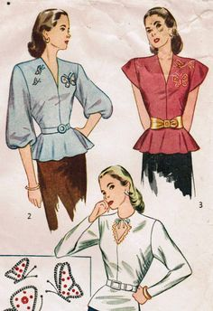Simplicity 1782 Vintage 1946 Sewing Pattern Misses' Blouse Size 14 Bust 32 #1940s