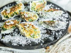 Our Oysters Rockefeller are covered with a mixture from butter, garlic, spinach, parmesan and bread crumbs and broiled on the Otto Grill. Spring Grilling Recipes, Oysters Rockefeller, Parmesan, Grilled Fish, Garlic Butter, Fish And Seafood, Seafood Recipes, Cravings, Bbq