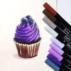 Ещё немного кулинарных соблазнов  #sketch #sketching #скетч #watercolor #markers #zig #purple #cupcake #instaart #topcreator #arts_help #drawing #illustration #v0lha_sketch