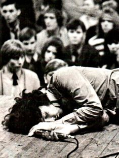 """"""" babeimgonnaleaveu: """" Jim Morrison passed out on stage in Amsterdam. He had eaten an ounce of hash that day, plus popped all the pills the kids gave him. Jimi Hendricks, The Doors Jim Morrison, The Doors Of Perception, Foto Poster, Estilo Rock, American Poets, Janis Joplin, Music Icon, Keith Richards"""