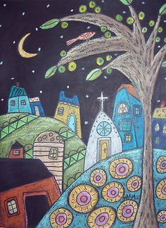 9x12 Original oil pastel, Small Town, copyrighted, www.karlagerard.com