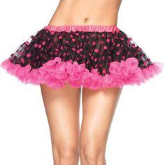 chiffon black w pink mini w flocked polka dots   black pink