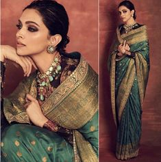 Deepika Padukone in Sabyasachi - Rampdiary Bollywood Celebrities, Bollywood Fashion, Saree Fashion, Bollywood Saree, Bollywood Actress, Indian Wedding Outfits, Indian Outfits, Indian Attire, Dress Indian Style