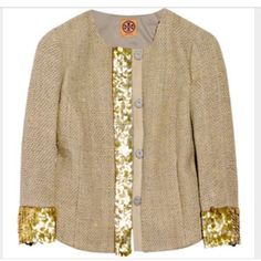 Tory burch sequin jacket Tory burch sequin blazer. Sequins do show some love, but still beautiful. Photographed so you can see. Great with jeans or dressed up. Tory Burch Jackets & Coats Blazers