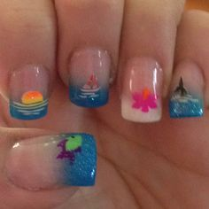 Cute and colorful tropical nails art ideas 23 – My CMS Tropical Nail Designs, Tropical Nail Art, Diy Nail Designs, Short Nail Designs, Hawaii Nails, Beach Nails, Diy Nails, Cute Nails, Pretty Nails