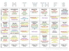 1200 calorie 21 day fix charts - Google Search