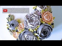 HOT CAKE TRENDS 2016! Buttercream English Roses Flower Wreath cake - How to make by Olga Zaytseva - YouTube