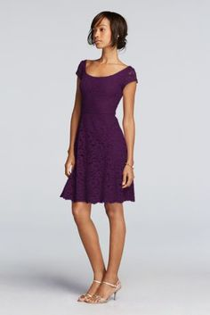 """Looking for a versatile bridesmaid dress? Consider this illusion dress with cap sleeves!  2"""" extra length dress.  Lace illusion cap sleeves paired with scoop back.  Skirt length sits above the knee with scalloped hemline.  Also available in missy sizes as Style F19095.  Fully lined. Zipper Back. Imported polyester. Dry clean only."""