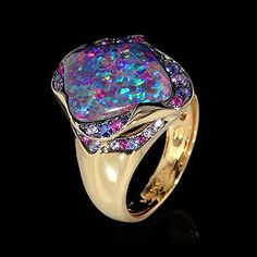 Ring Spectrum - Mousson Atelier Yellow gold, Opal 6,03 ct., Multicolored sapphires