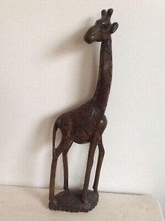 Tall Hand Carved wooden giraffe probably of African origin measuring in height & in perfect condition. African Origins, Wooden Hand, African Safari, Vintage Wood, Home Decor Styles, Hand Carved, Giraffe, Bookends, Erotic