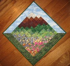 Blue Skies Mountain Diagonal Art Quilt Wall Hanging by TahoeQuilts, $128.00