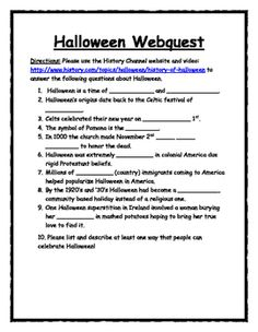 think like a historian with a quick and easy halloween webquest utilize the history channels video and description of the holiday to learn about the - Halloween Web Quest