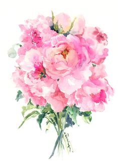 Peony Flowers, Soft Pink, Artwork, Original watercolor, Original Painting, Pink floral, art, painting, watercolor art by ORIGINALONLY on Etsy