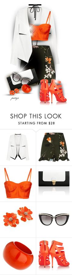 """Frill Shorts"" by rockreborn on Polyvore featuring Narciso Rodriguez, River Island, Jurekka, Kenneth Jay Lane, Anna-Karin Karlsson, Jimmy Choo and Joomi Lim"
