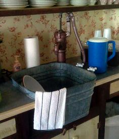 Simple, rustic , functional washtub sink -