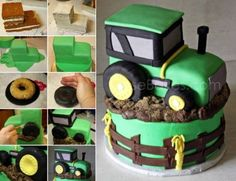 DIY Tractor Cake cake recipe recipes cake recipes how to party ideas birthday cakes food tutorials kids cakes