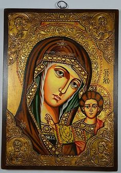 Virgin Mary Christ of Kazan Russian Handpainted Byzantine Eastern Orthodox Icon