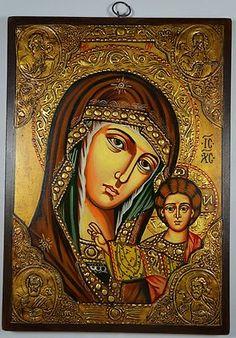 Virgin Mary Christ of Kazan Russian Handpainted Byzantine Eastern Orthodox Icon