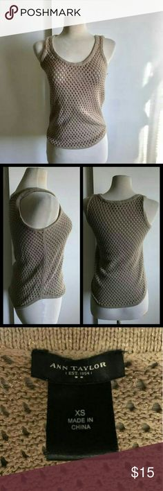Ann Taylor fish net top Tan with gold tan top. Can be used over a bikini. In great condition.  Can fit an extra small Ann Taylor Tops Tank Tops