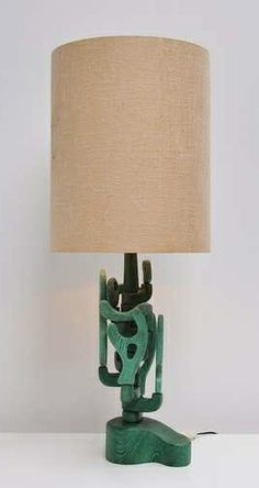 Anonymous; Stained Wood Table Lamp, c1970.