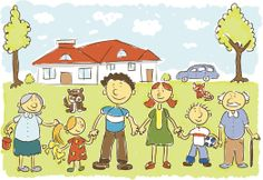 Child's hand drawing vector illustration on happy family in front of their house .ZIP contain and JPEG files. Happy Family, Family Guy, Lung Cancer Causes, Environmental Health, Kids Hands, Drawing For Kids, Illustration, How To Draw Hands, Cartoon
