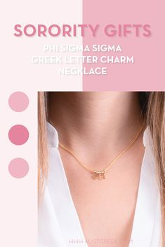 Sorority charm necklaces are the easiest gift for any celebration: Recruitment, Bid Day, Back to School & Big/Little. Spoil your new sorority girl with our simple and dainty Greek letter charm necklace! Phi Sigma Sigma Gifts   Phi Sigma Sigma Bid Day   Phi Sig Necklace   Phi Sigma Sigma Jewelry   Sorority Bid Day & Recruitment   Sorority Jewelry Gifts   Sorority College Gift   Sorority New Member Gift Ideas   Dainty Jewelry   Simple Gold Charm Necklace #SororityGifts #SororityJewelry Letter Charm Necklace, Charm Necklaces, Letter Charms, Simple Jewelry, Dainty Jewelry, Jewelry Gifts, Phi Sigma Sigma, Kappa Alpha Theta, Sorority Bid Day
