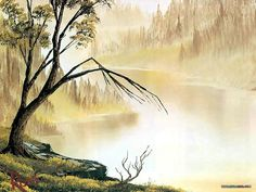 Peaceful Landscape Paintings by Bob Ross  - Bob Ross  Landscape Paintings : Distant Hills  9