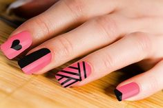 Pink and Black Nail Art Design #prom nail art