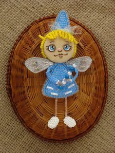 Beaded doll brooch Elf doll brooch pin Kids beaded jewelry