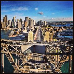 The view to Sydney city from the top of the Sydney Harbour Bridge  (2012)