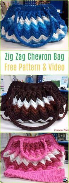 Crochet Zig Zag Chevron Bag Free Pattern - #Crochet Handbag Free Patterns