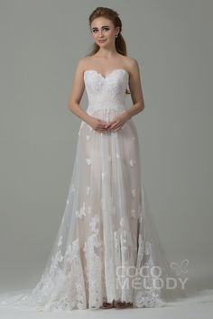 Luxurious+Sheath-Column+Sweetheart+Natural+Train+Tulle+Ivory/Champagne+Sleeveless+Zipper+With+Button+Wedding+Dress+with+Appliques+CWZT15008