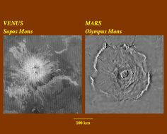Comparison of Volcanos on Venus and Mars Viking Images, Mars Planet, Venus And Mars, Volcano, Olympus, Vikings, Larger, Mosaic, Scale