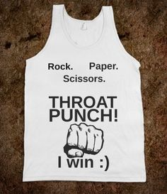 Rock Paper Scissors Throat Punch I Win Unisex Tank Top